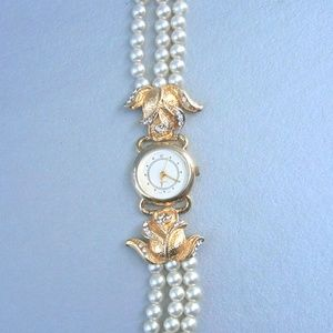 Accessories - Glam 5mm Faux Pearl 3Strand Gold Tone Ladies Watch